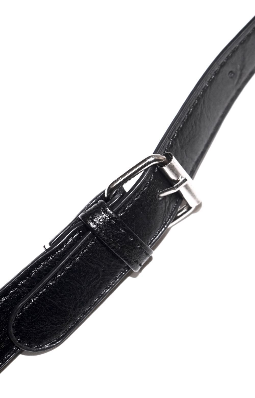 Silver Chain Leather Touch Waist Bag (black)