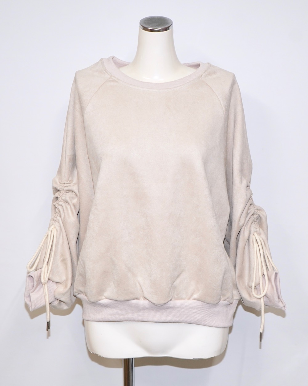 Ribbon Strings Sleeve Big Sweat PO (beige)