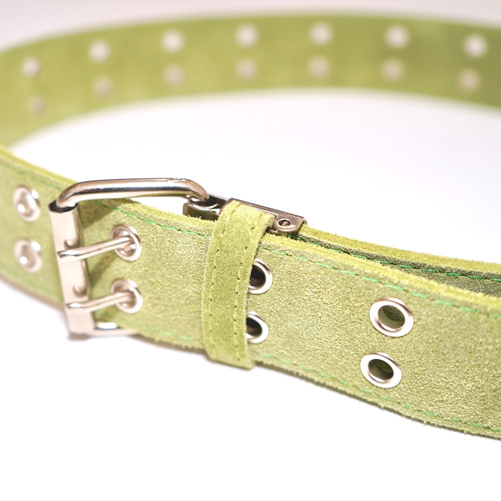 Double Eyelet Belt (suede light green)