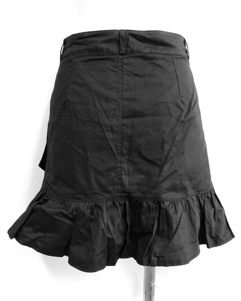 Hem Frill Tiered Mini Skirt (black)