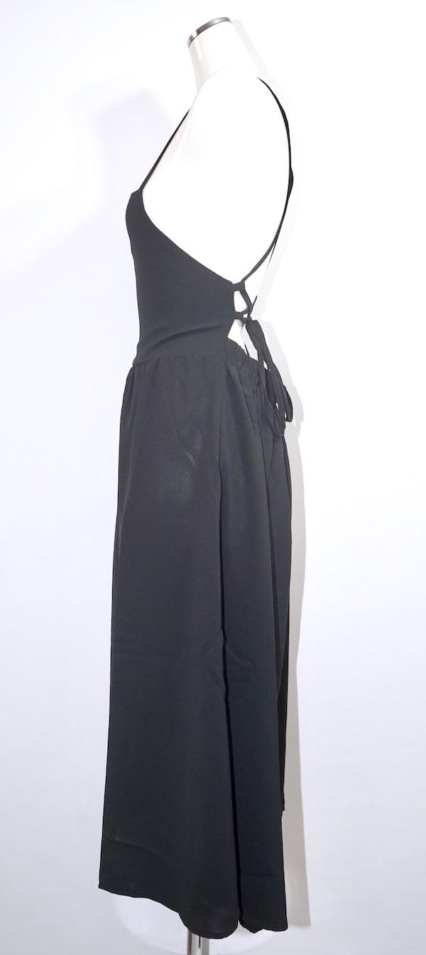 Back Lace-up Long Jumper Skirt (black)
