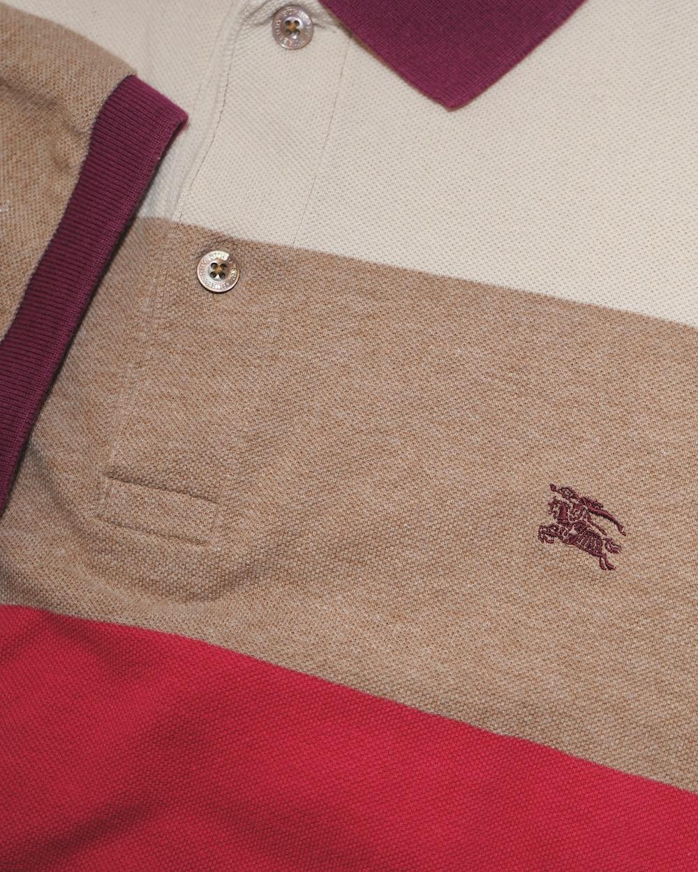 """BURBERRY LONDON"" 1P Logo Multi Color Border Polo Shirts"