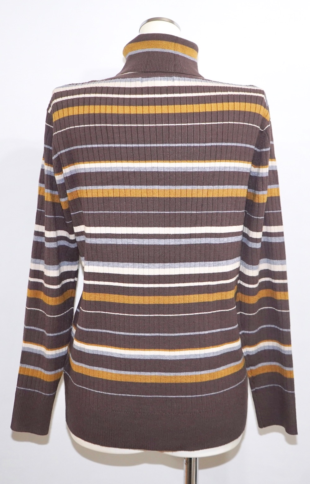 Multi Border Turtle Neck Rib Knit Tops(brown-yellow)