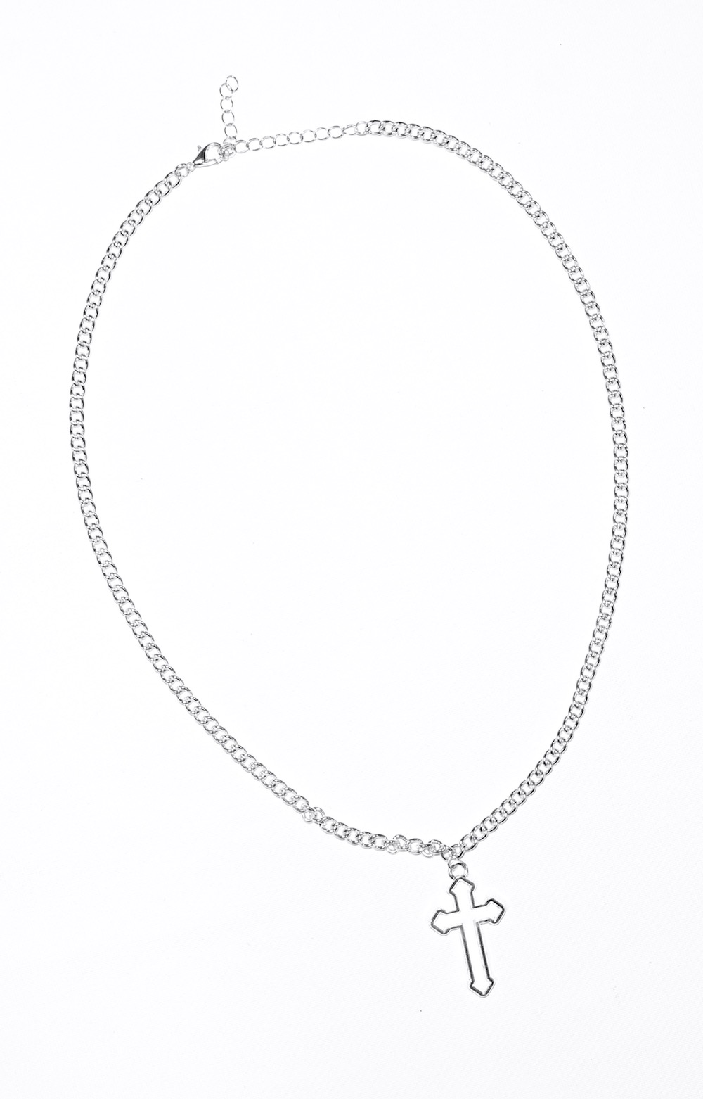 Die Cutting Cross Motif Necklace(silver)