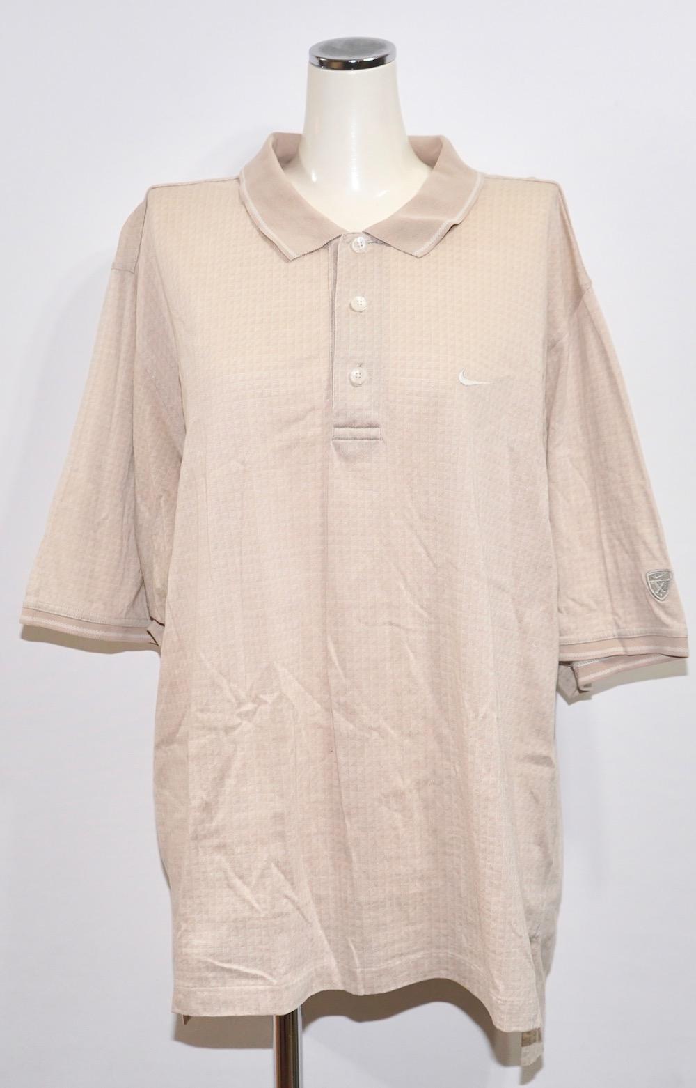 """NIKE"" 1point Swoosh Logo Line Rib Big Polo Shirts(beige)"