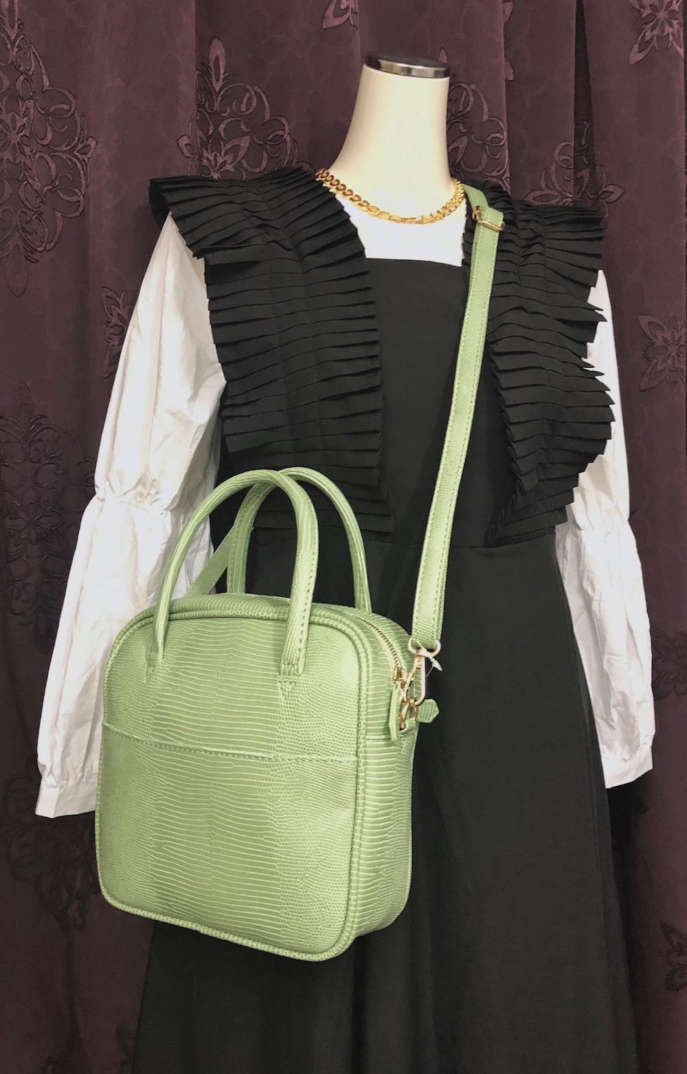 2way Square Shoulder Boston Bag (green)