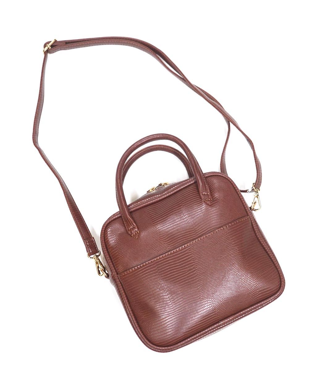 2way Square Shoulder Boston Bag(brown)