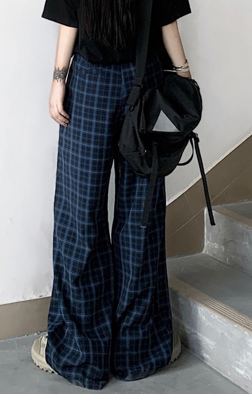 2way Knee-Slit Check Wide Pants (blue-black)