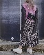 Monotone Flower Tiered Long Skirt (black)