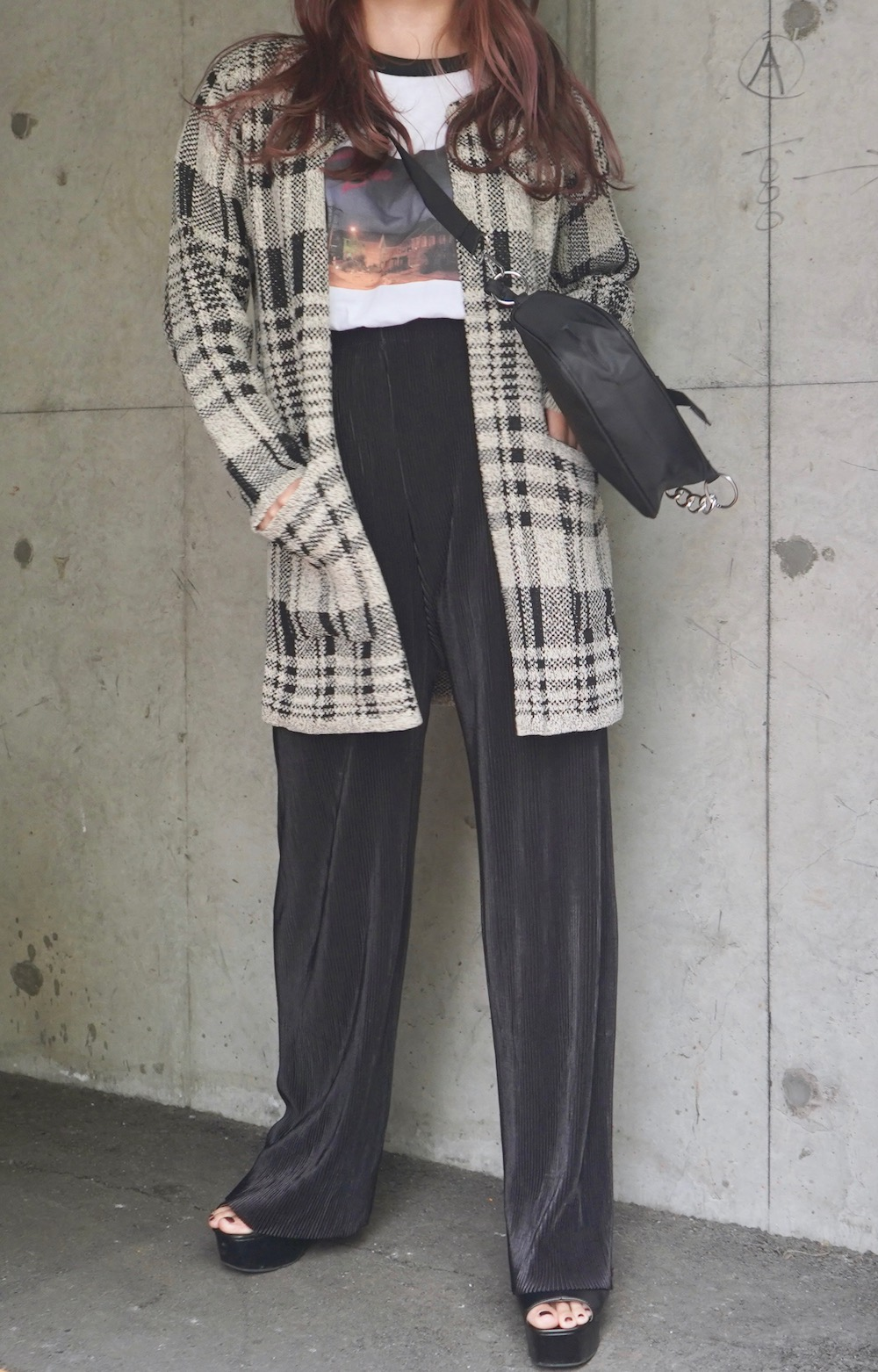 Check Knit Long Cardigan (light beige)