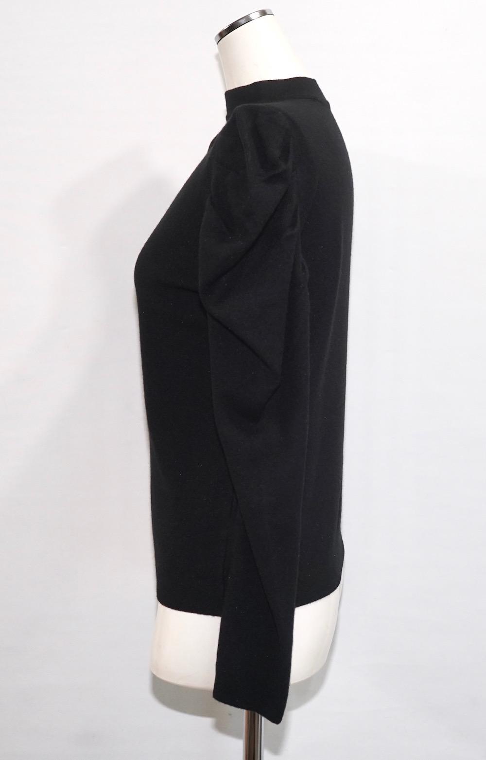 Basic Puff Shoulder Knit Tops (black)