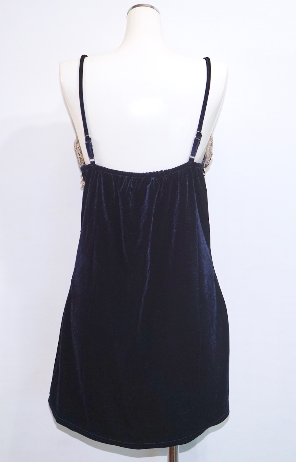 Velvet Lace Trim Camisole Onepiece (navy)