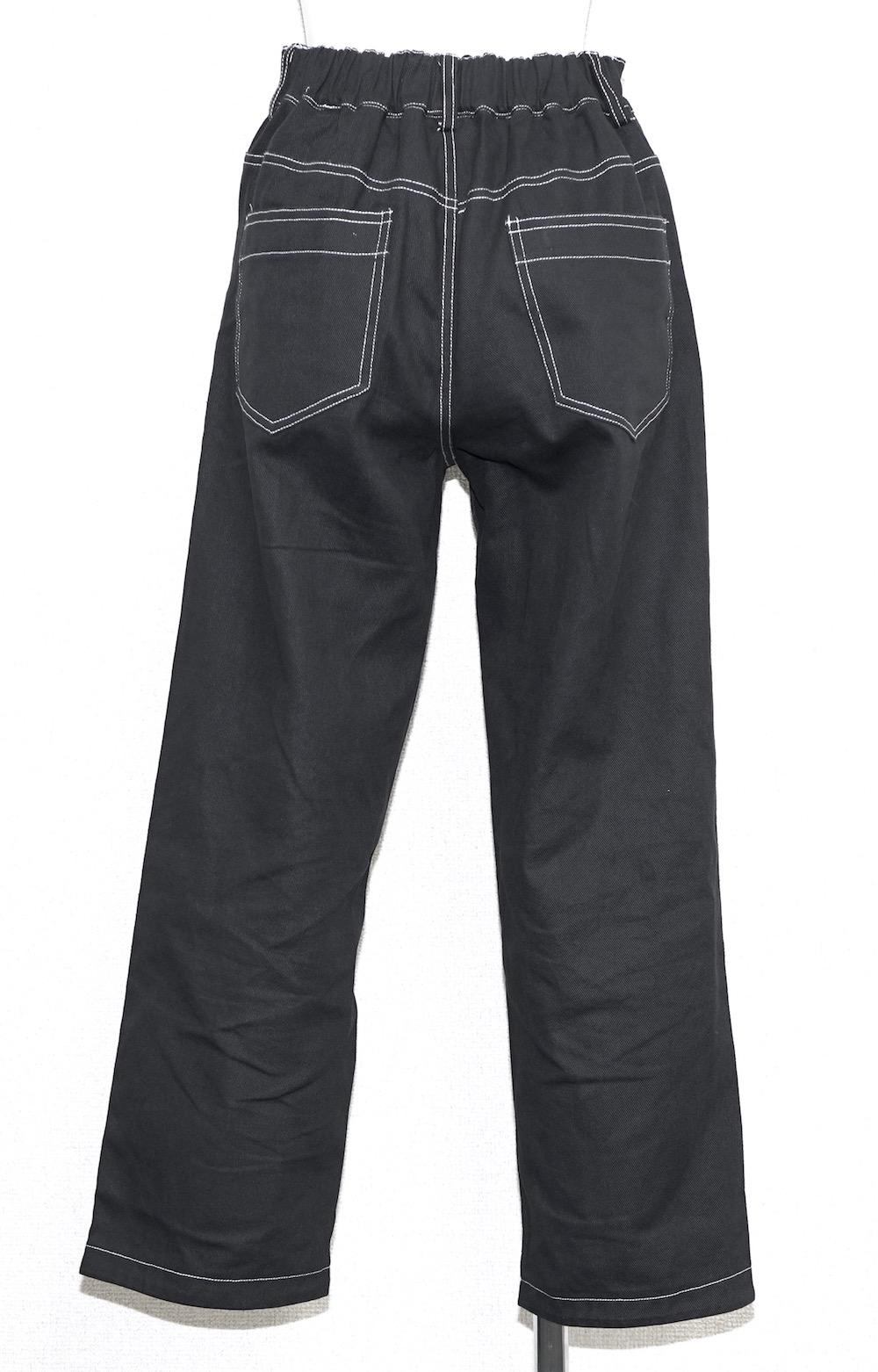 Black Denim Jacket&Wide Pants 2P SET UP