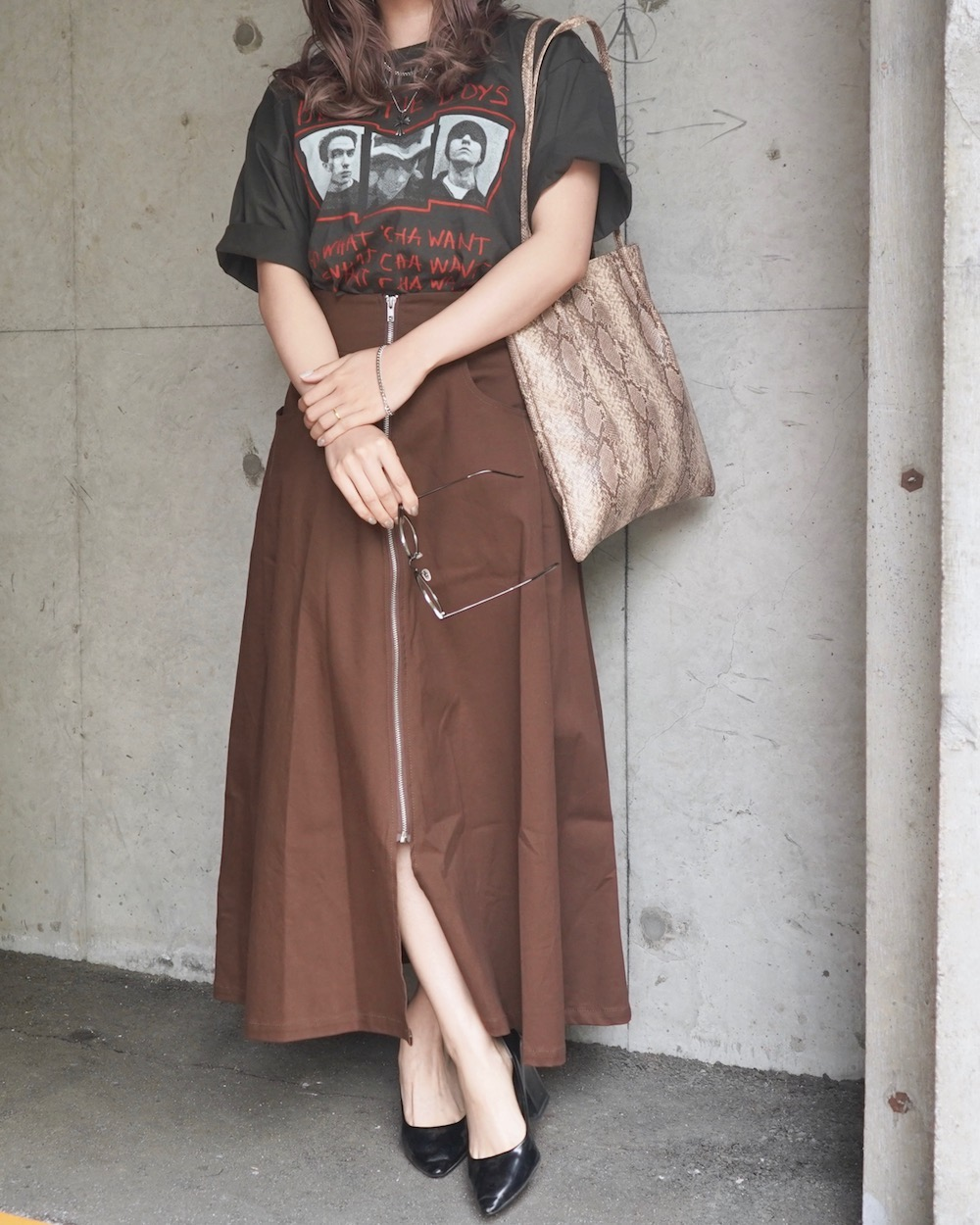 Front Zip A-line Long Skirt (brown)