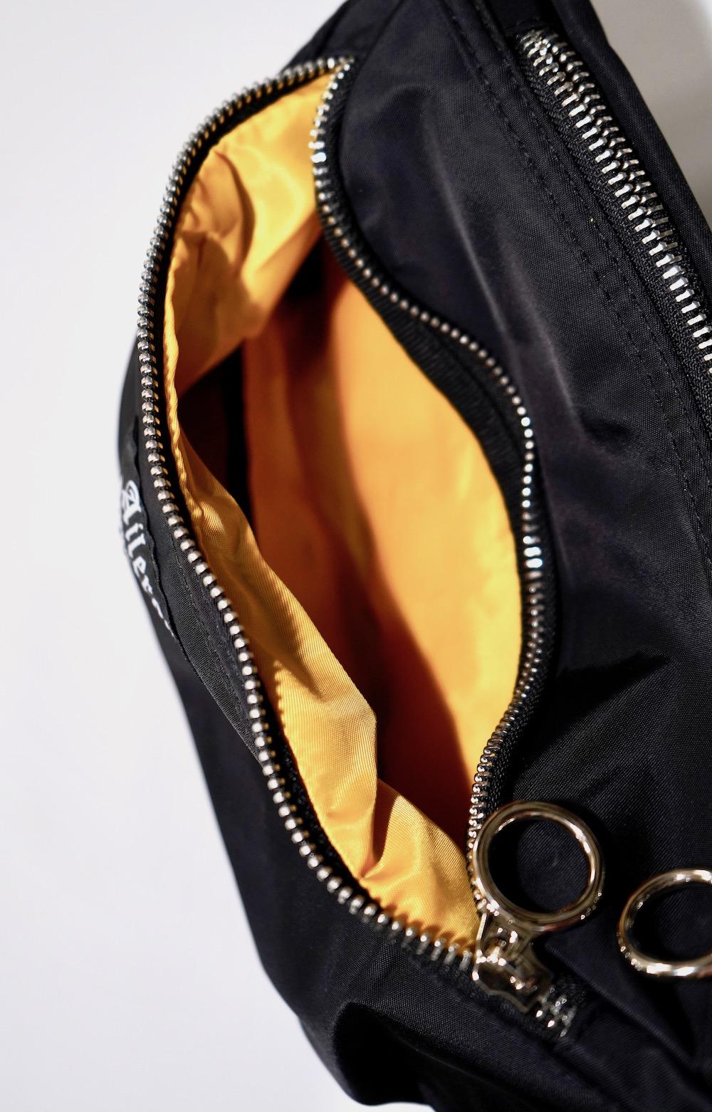 """A.D.G"" Ring Zip Nylon Waist Bag (black)"