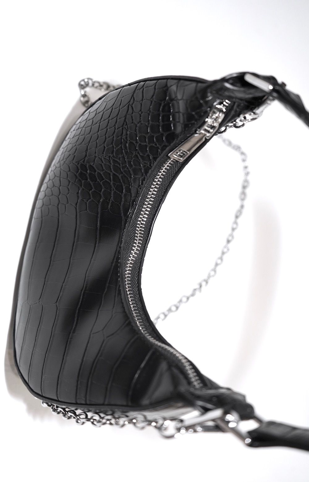 2way Crocodile Touch Half-moon Bag (black)