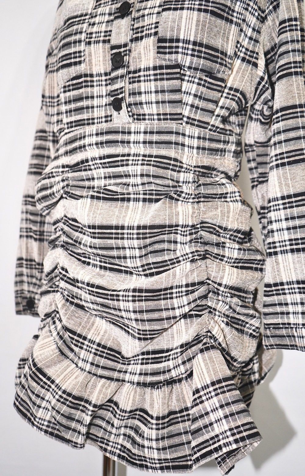 Checked Shirring Shirts Onepiece