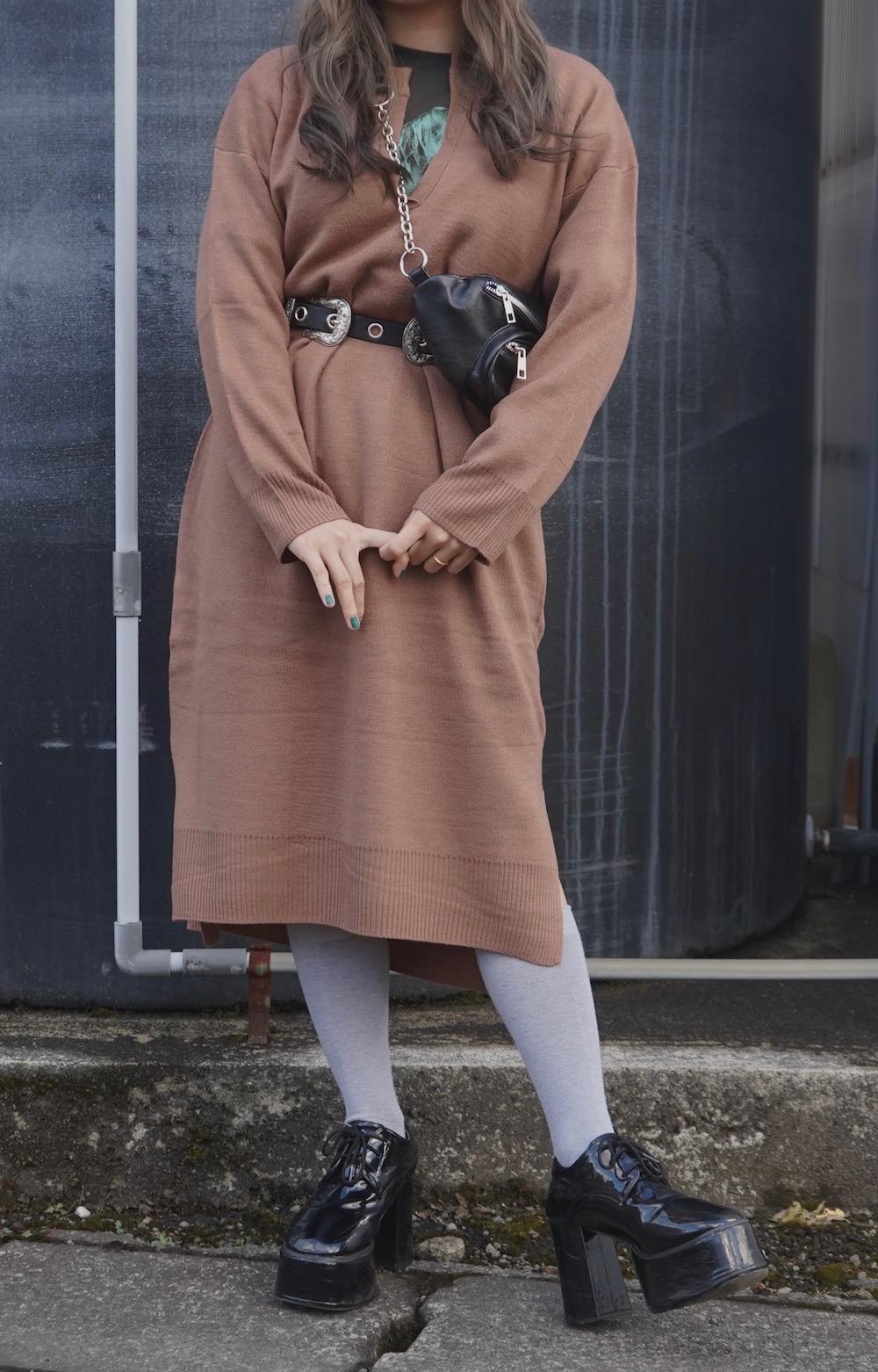 Slit Design Knit Long Onepiece (brown)
