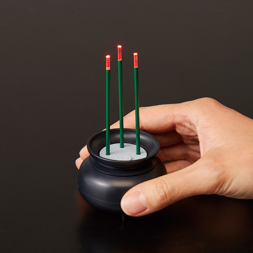 火を使わないLED線香自動消灯