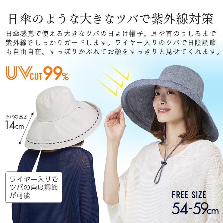 日傘のようなUVカットつば広帽子