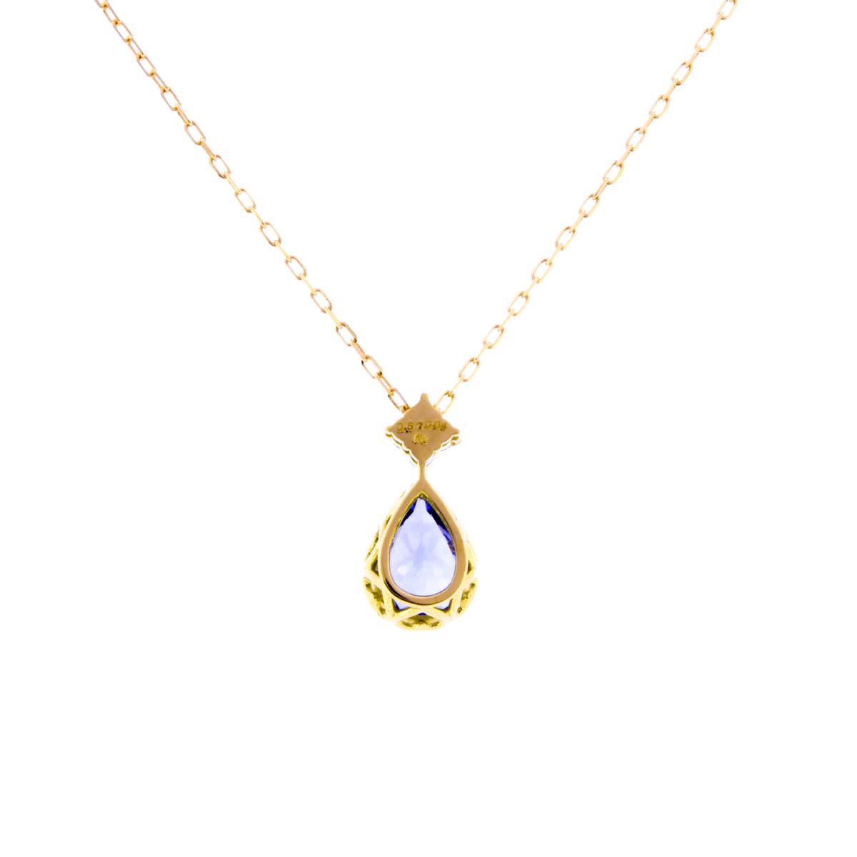 K18YG タンザナイト ペンダント ネックレス ひし形 ダイヤバチカン付き ペアシェイプ