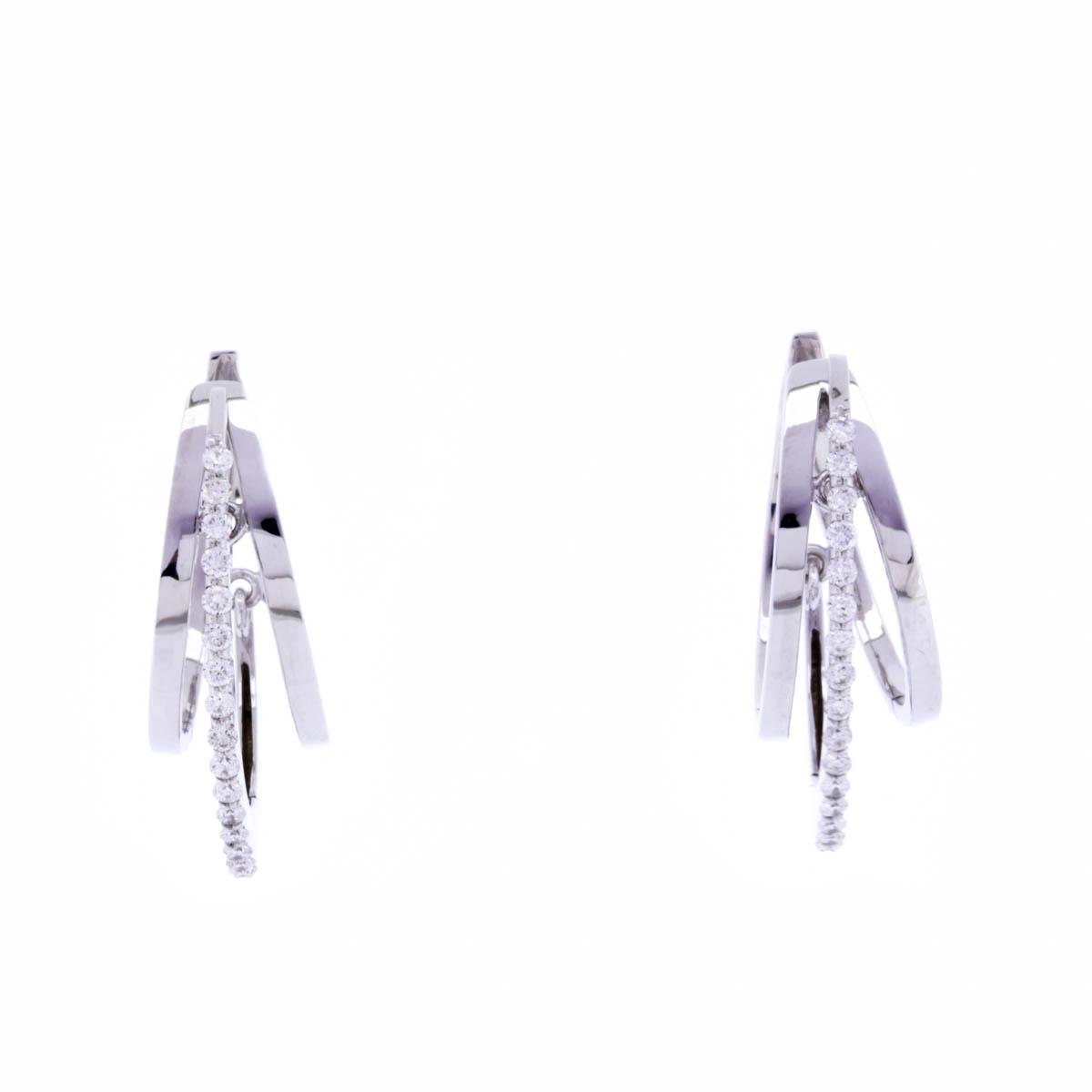 K18WG ダイヤモンドピアス フープピアス ゴージャス