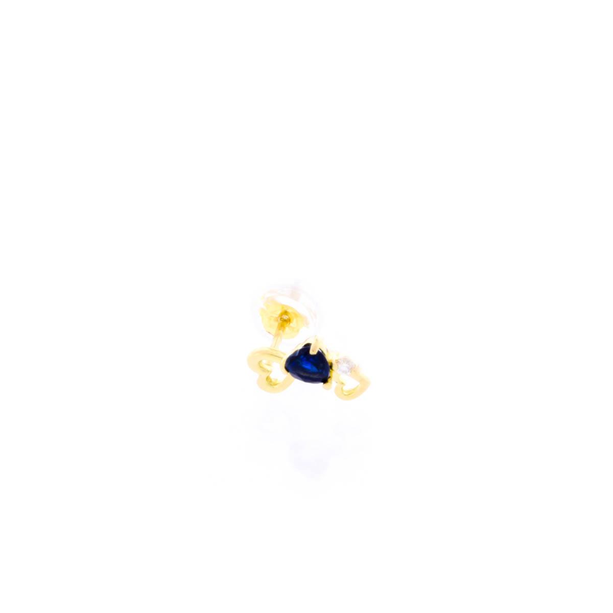 K18YG ピアス サファイア ダイヤモンド ハート モチーフ