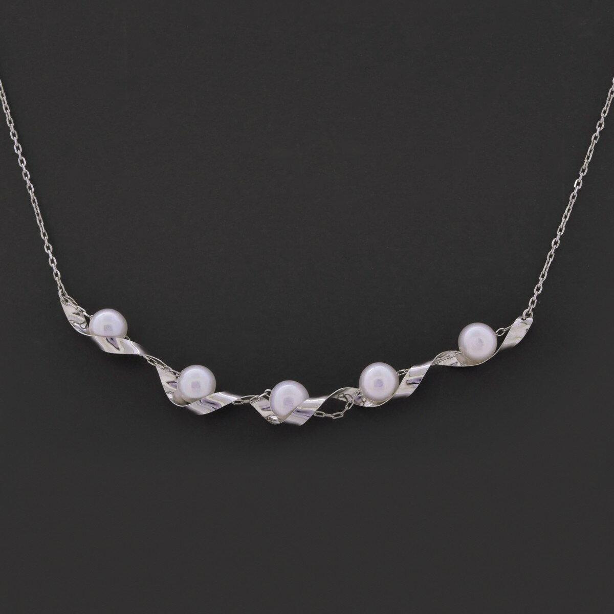 K18WG アコヤ真珠 ネックレス