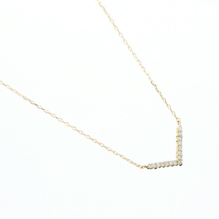 K18YG K18PG K18WG ダイヤモンド ネックレス Vライン