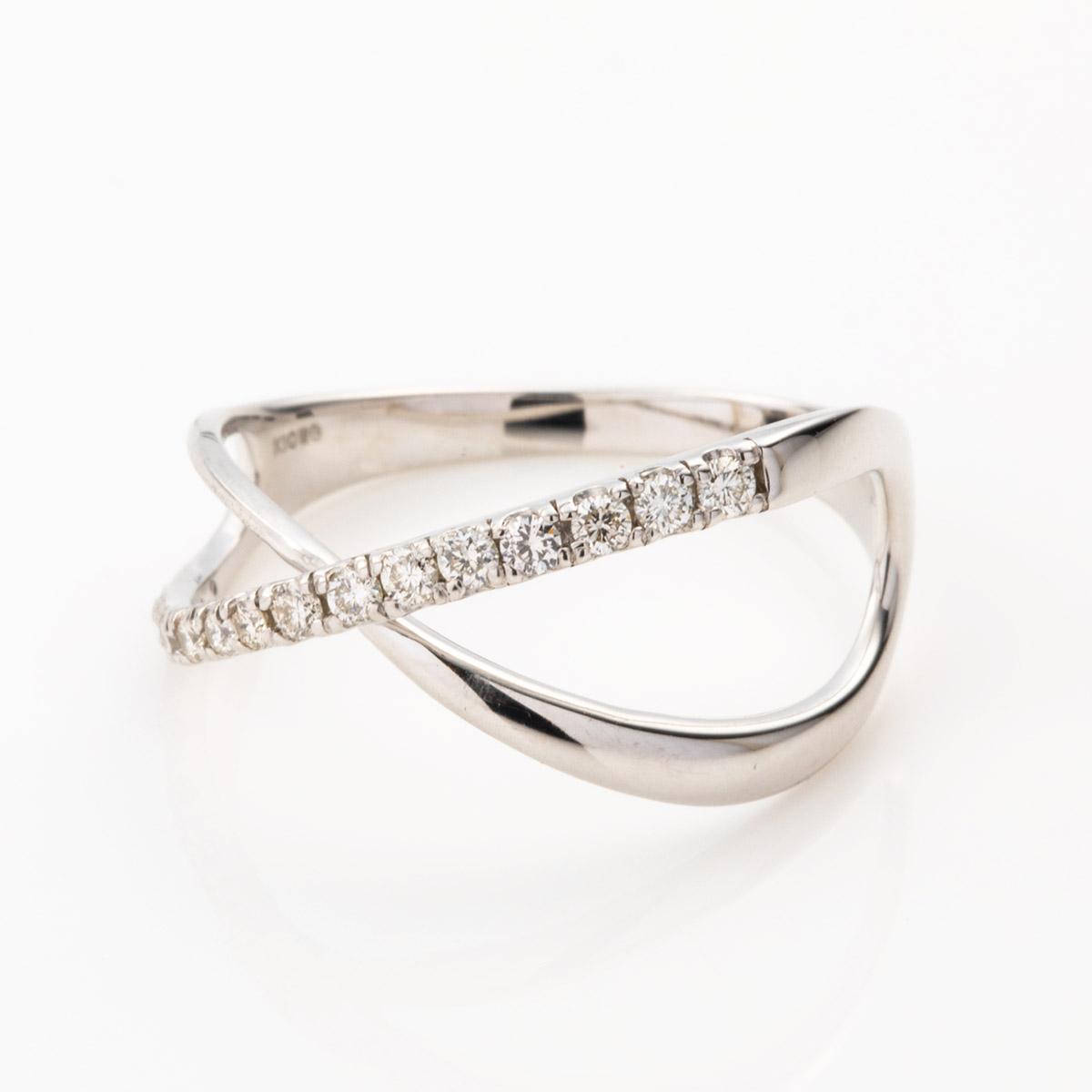 K10WG ダイヤモンド クロスリング