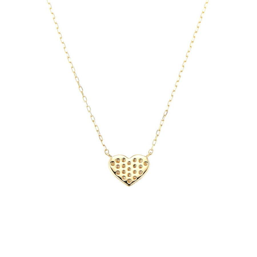 K18YG K18PG K18WG ダイヤモンド ネックレス ハートモチーフ