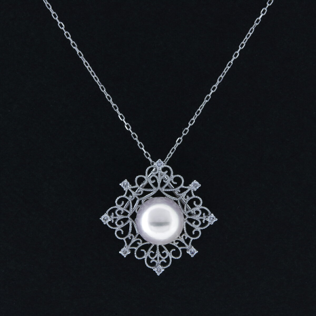 K18WG アコヤ真珠 ダイヤモンド ネックレス