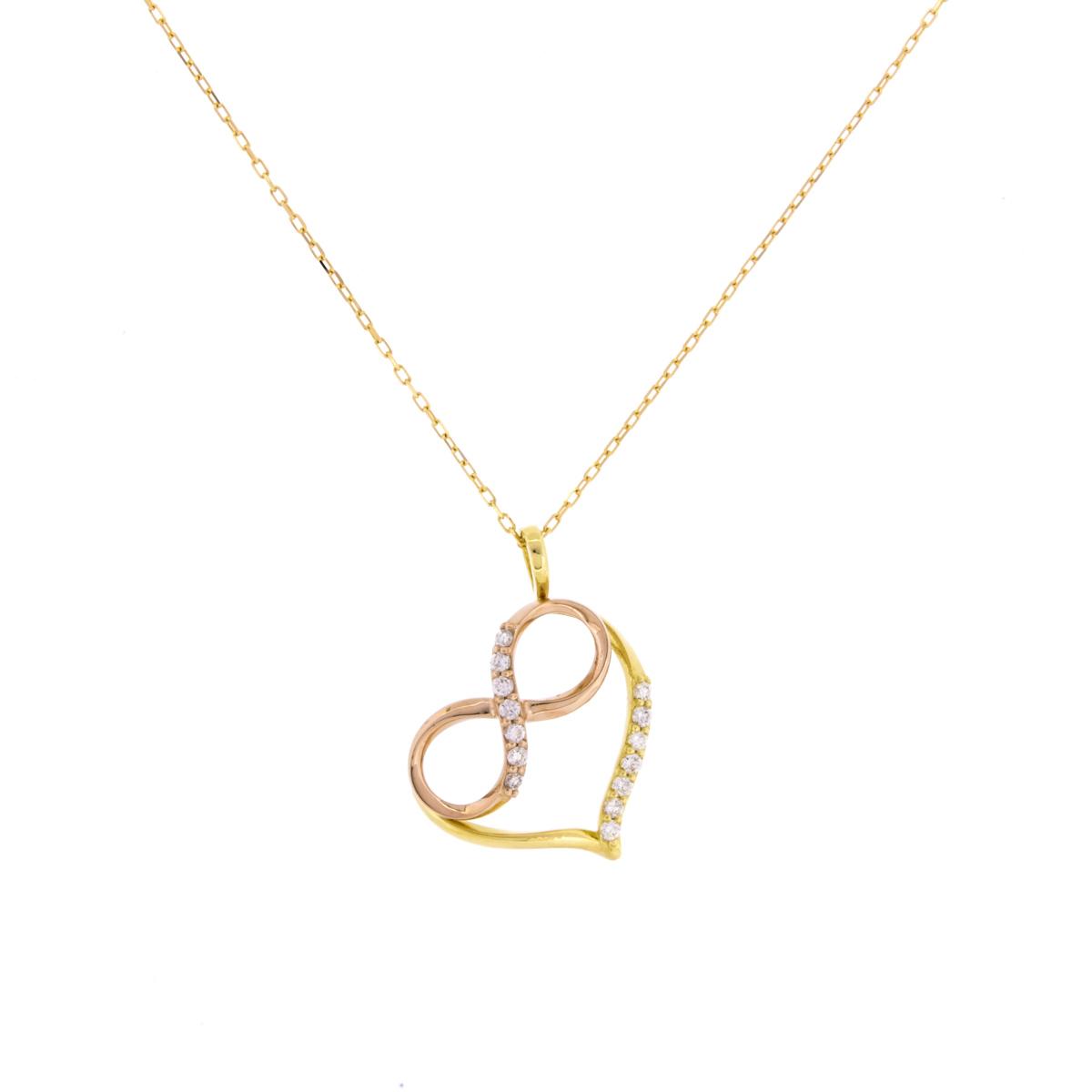 K18YG K18PG ダイヤモンド ペンダント ネックレス インフィニティハート
