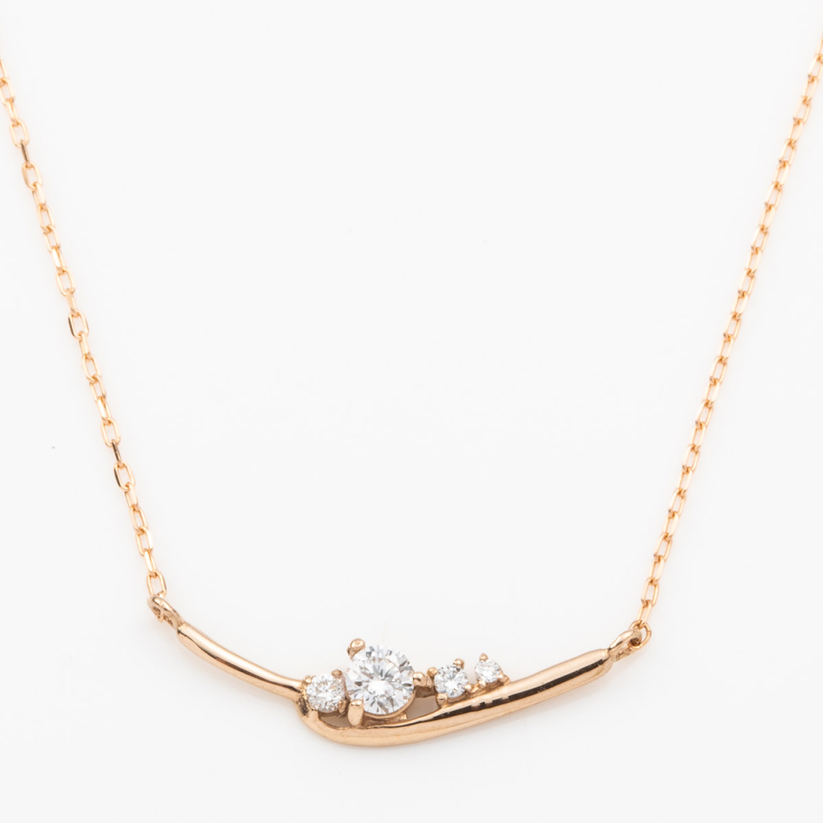 ≪雑誌JJ掲載≫K18YG K18PG Pt900 ダイヤモンド スマイルライン ネックレス