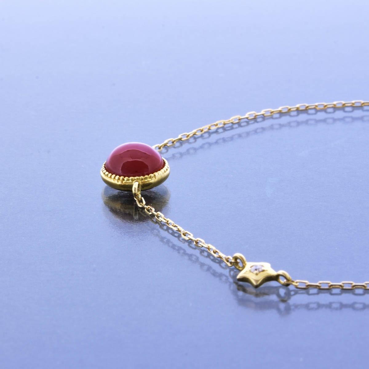 K18YG 赤珊瑚 ブレスレット 星座 モチーフ 双子座 ふたご座