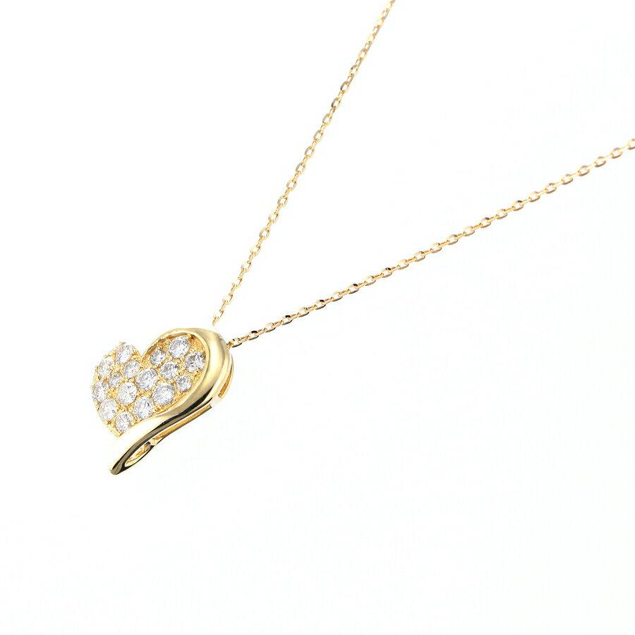 Pt900 K18YG K18PG ダイヤモンド ネックレス ハートモチーフ