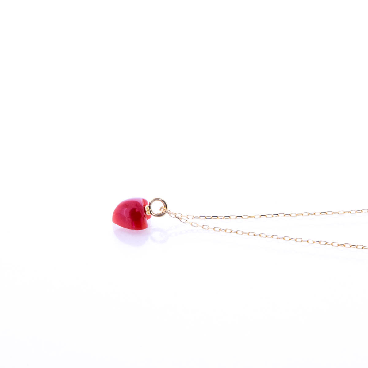 K18YG 赤珊瑚 ペンダント ネックレス ハート モチーフ