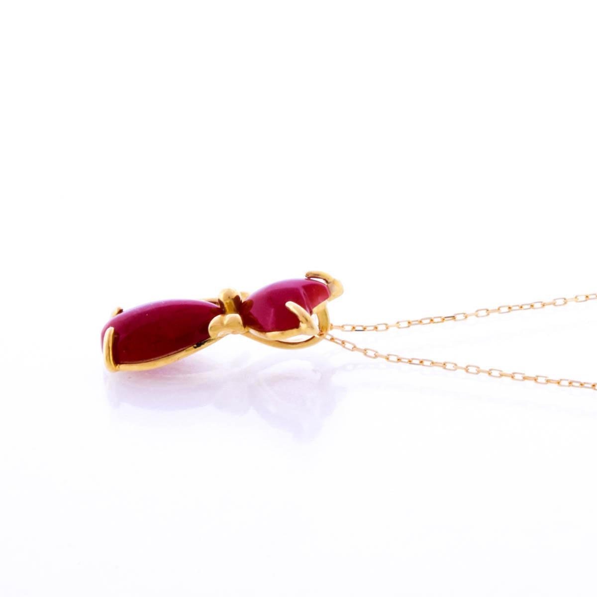 K18YG 赤珊瑚 ペンダント ネックレス ハート ネコ