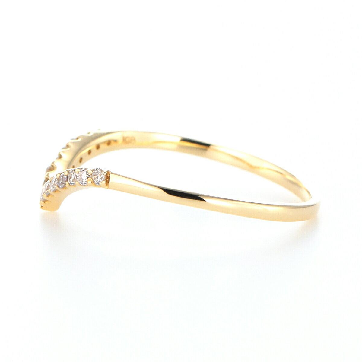 ≪雑誌JJ掲載≫K18YG K18PG Pt900 ダイヤモンド Vラインモチーフ リング