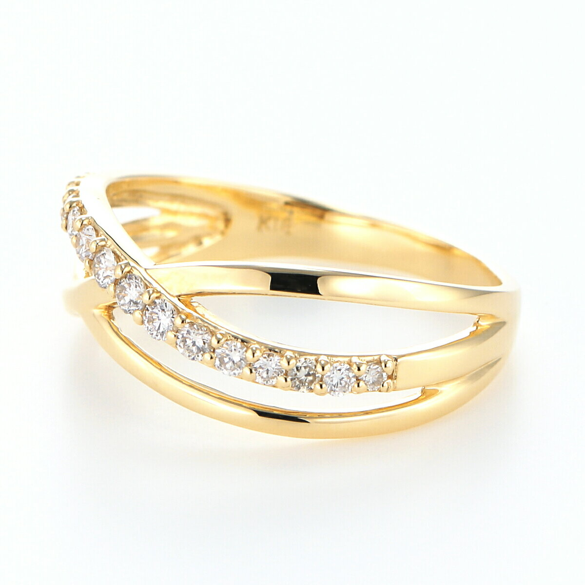 【雑誌CREA掲載】 Pt900 K18YG K18PG ダイヤモンド クロス リング