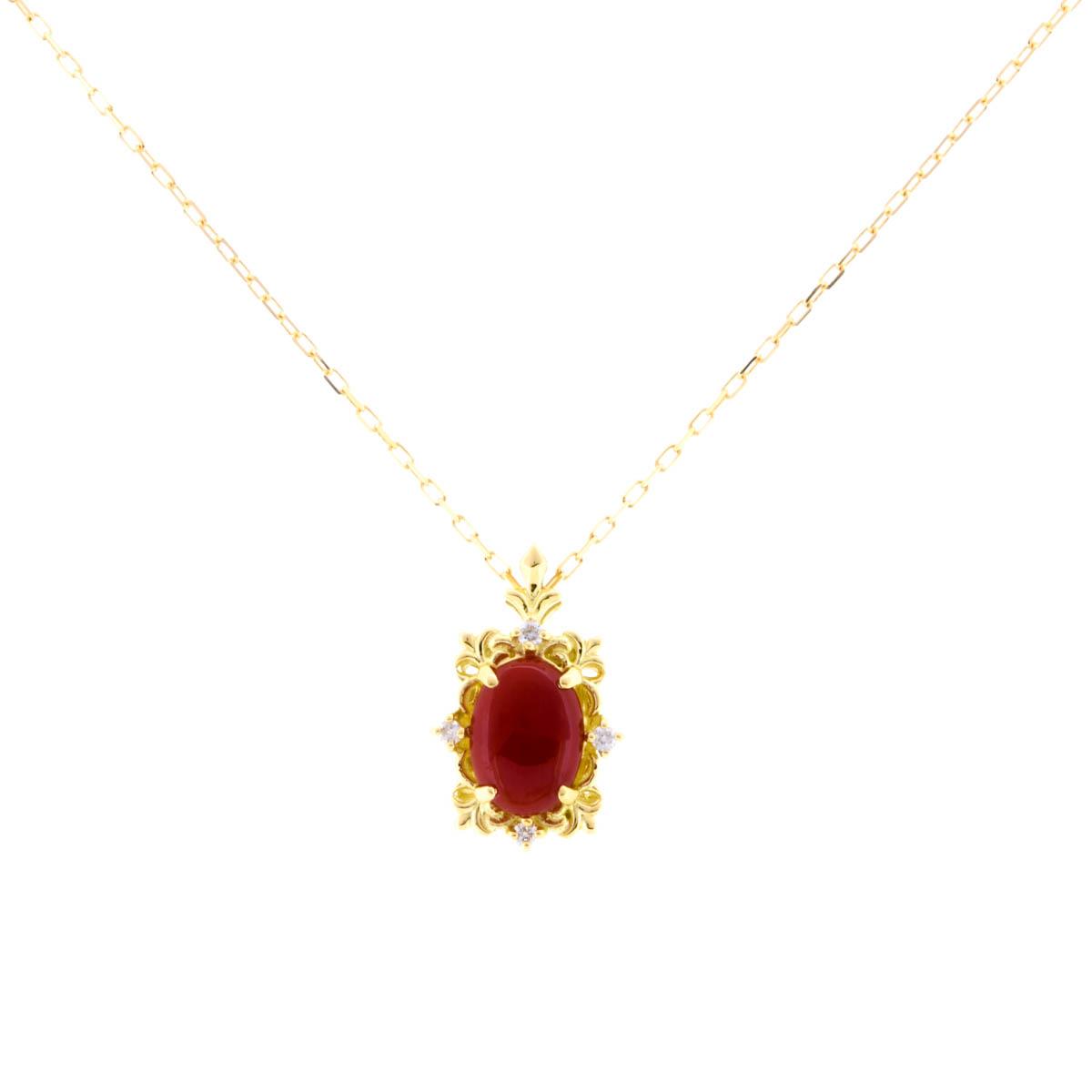 K18YG 赤珊瑚 ペンダント ネックレス 唐草