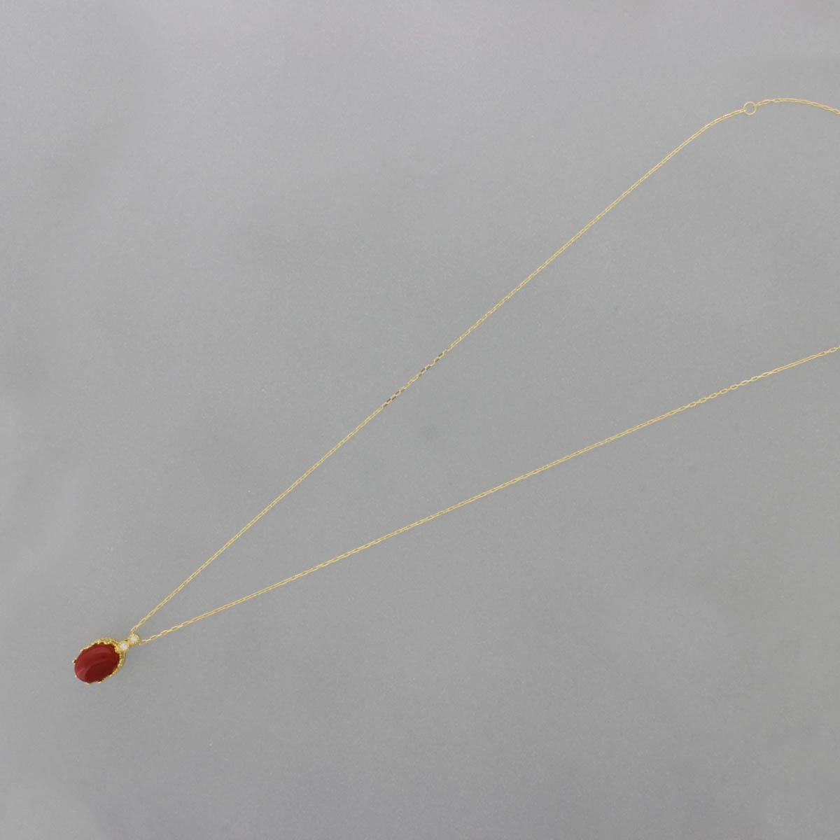 K18YG 赤珊瑚 ペンダント ネックレス  アンティーク オーバル カボションカット