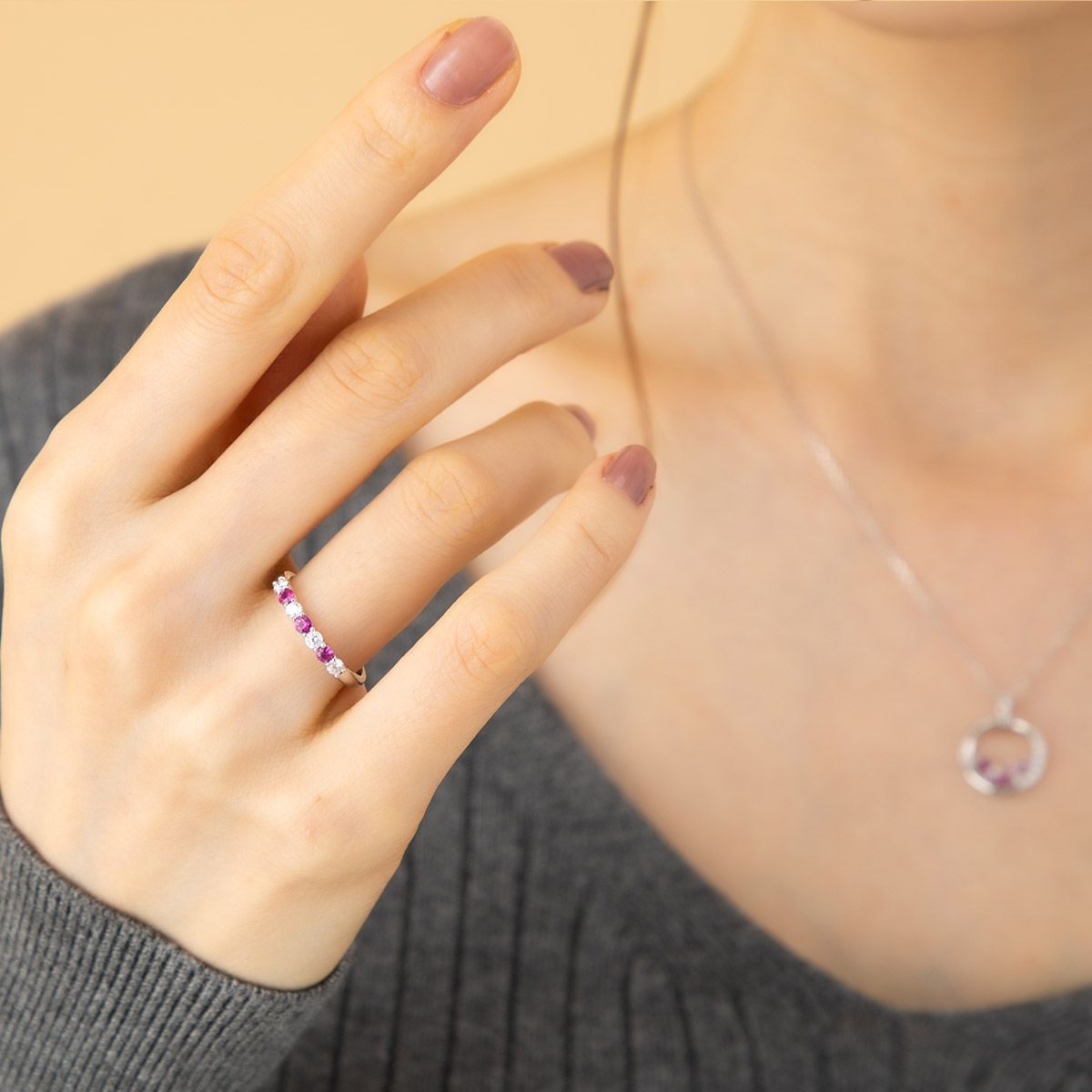 Pt900 ルビー×ダイヤモンド 一文字リング