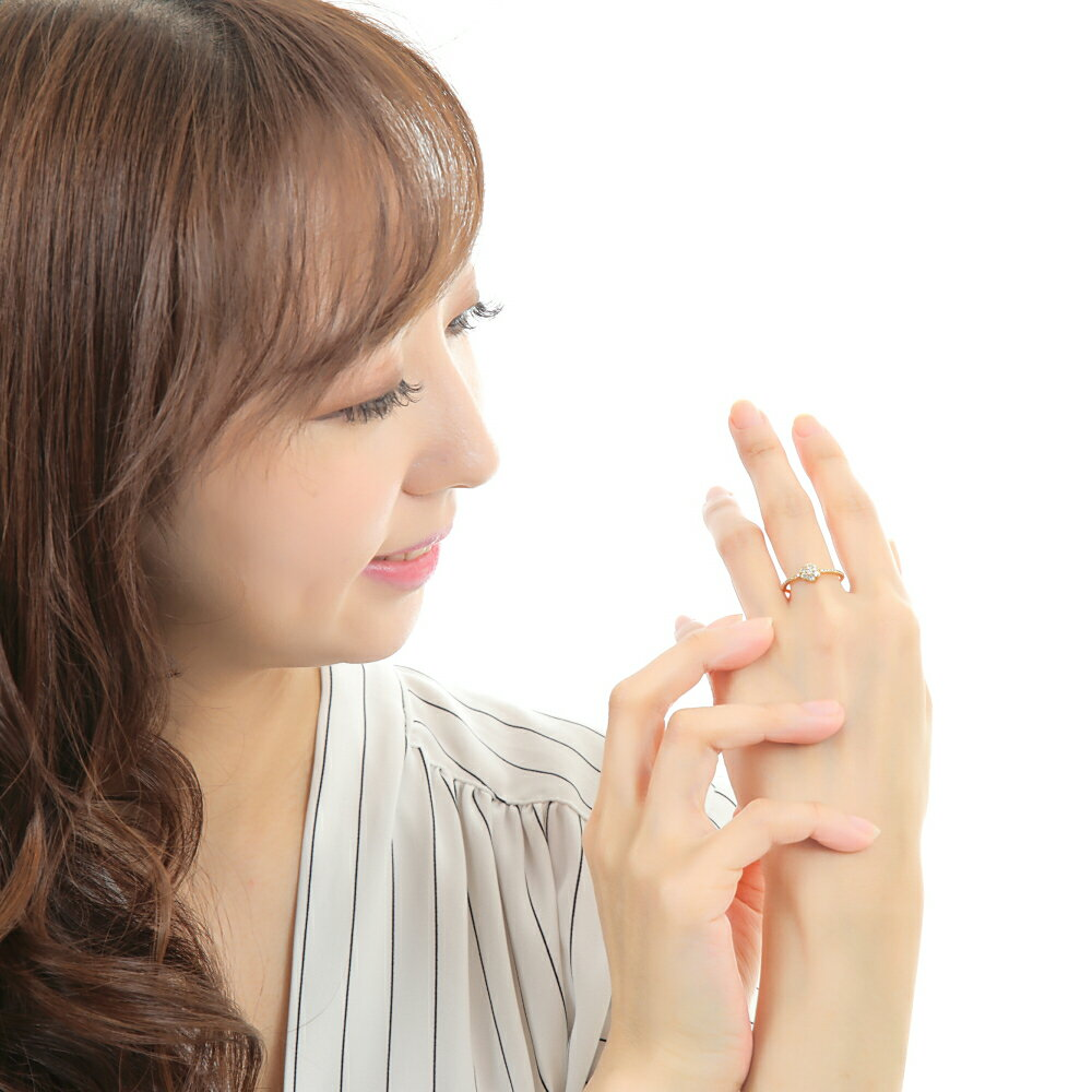 K18YG ダイヤモンド リング  花モチーフ