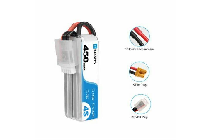 BETAFPV HX115-HD バッテリー 450mAh 4S 75C Lipo Battery(2PCS)