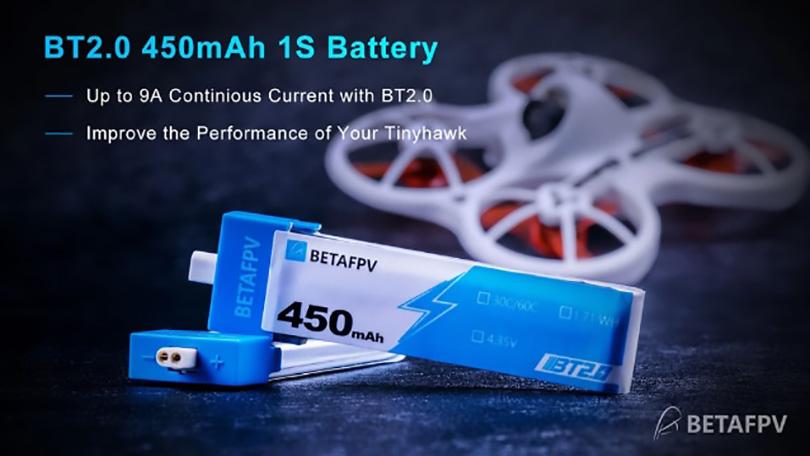 BETAFPV Meteor75   バッテリー BT2.0 450mAh 1S 30C Battery (4PCS)