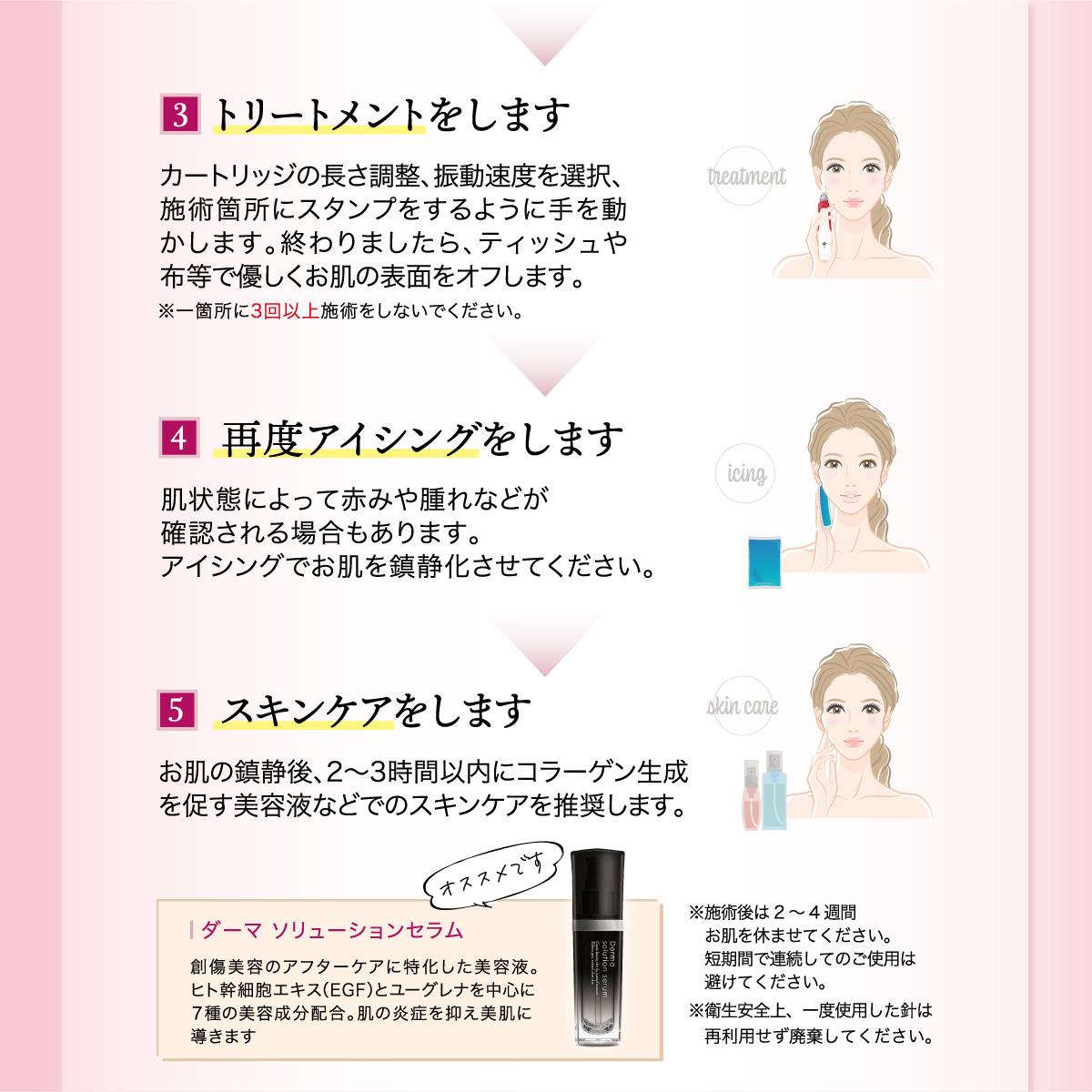 電動ダーマスタンプ 日本語説明書付 替チップ 3タイプ計5個付 0.25ミリ-2.0ミリに調整可能