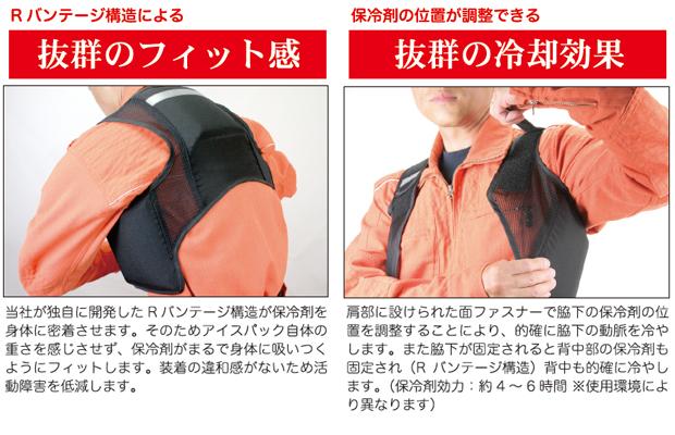 暑さ対策 熱中症対策グッズ 冷却ベスト 上位モデル アイスハーネス 高視認蛍光タイプ 保冷剤6個付きセット