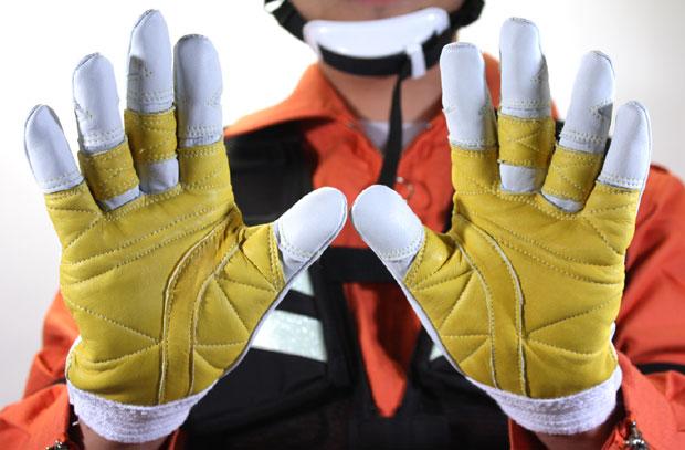 牛革手袋 断熱厚手 ロープ降下用プロモデル C-307W トンボレックス レスキューグローブ 消防手袋