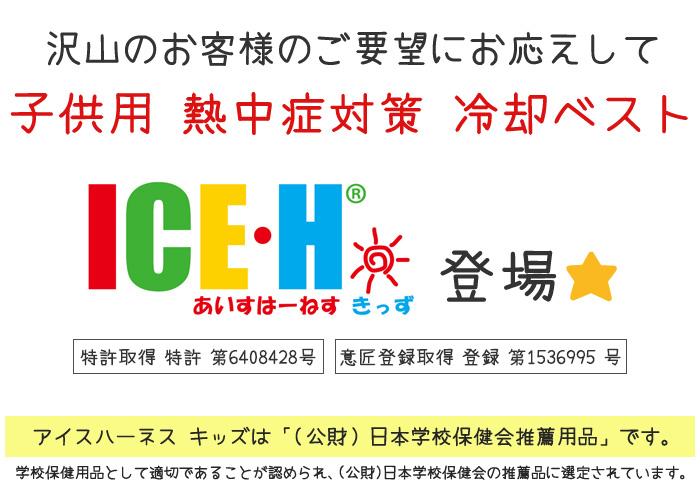 熱中症対策グッズ 冷却ベスト 子供用 アイスハーネス キッズ 新型 和柄シリーズ 保冷剤3個付きセット 2歳から10歳向け